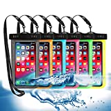 6 Pack Universal Waterproof Phone Pouch, Large Phone Waterproof Case Dry Bag IPX8 Outdoor Sports for Apple iPhone Pro XS XR XS 12 11 10 9 8 7 6 Plus,SE, Samsung S10 S10+ S9+ S9 S8+,Note,up to 6.5'