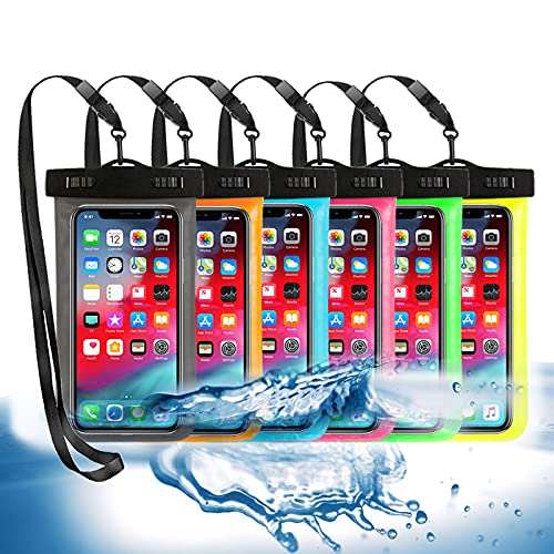 """6 Pack Universal Waterproof Phone Pouch, Large Phone Waterproof Case Dry Bag IPX8 Outdoor Sports for Apple iPhone Pro XS XR XS 12 11 10 9 8 7 6 Plus,SE, Samsung S10 S10+ S9+ S9 S8+,Note,up to 6.5"""""""