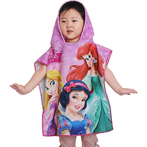 Niños niños Toalla de baño con Capucha Manto Toalla de Playa Manta Albornoz Toalla con Capucha Toalla de Ducha Mickey Minnie Sofia Frozen-Princess_50x100cm