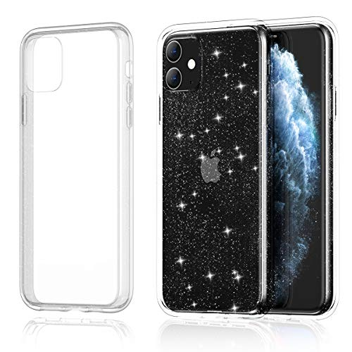 Meifigno Glitter Compatible with iPhone 11 Case, Hard Back with Soft TPU Bumper, [Military Grade Protection], Slim Shiny Clear Bling Sparkle Case Designed for iPhone 11 6.1 inch 2019, Glitter Crystal