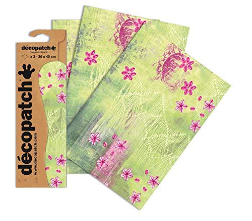 Decopatch Papier No. 384 (grün Blümchen pink, 395 x 298 mm) 3er Pack