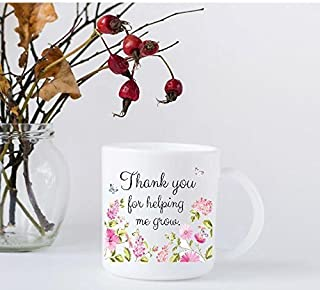 Teacher Appreciation Coffee Mug - Thank You For Helping Me Grow with Pink Flowers and Butterflies