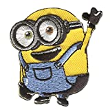 Iron on patches - MINIONS 'BOB HELLO!' - yellow - 6,5x6cm - by catch-the-patch Application Embroided patch badges