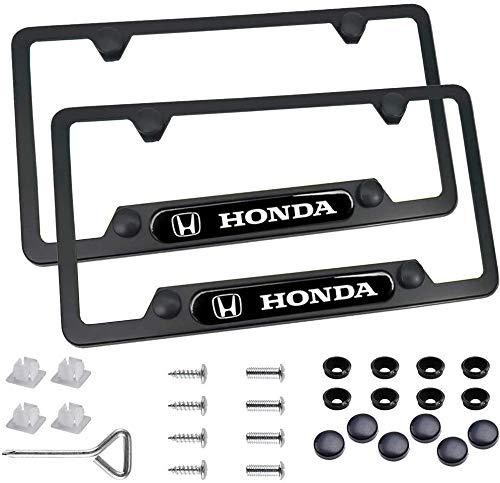 Carsport 2 Pcs Premium Aluminum Alloy Black License Plate Frame fit Honda, Universal Standard Size for Honda Tag License Plate