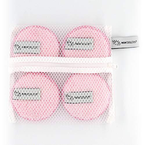 WOW Beauties mooie zachte make-up pads voor huidverzorging en gezichtsreiniging, 4-delige set incl. waszakken, wasbaar, herbruikbaar, duurzaam 4er-Set Premium roze