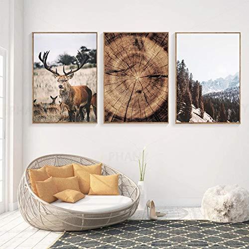 Montaña río bosque puente pared paisaje lienzo arte pintura nórdica carteles e impresiones cuadros de pared decoración de la sala de estar 40x55 cm-3 piezas sin marco