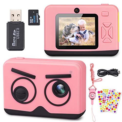 Belita Amy Upgrade Kids Camera, 2.4 Inch 1080P HD Dual Lens Children Digital Selfie Video Camcorder, Perfect Birthday Festival Gift for Age 3-12 Years Old Toddlers Girls & Boys with 32G SD Card(Pink)