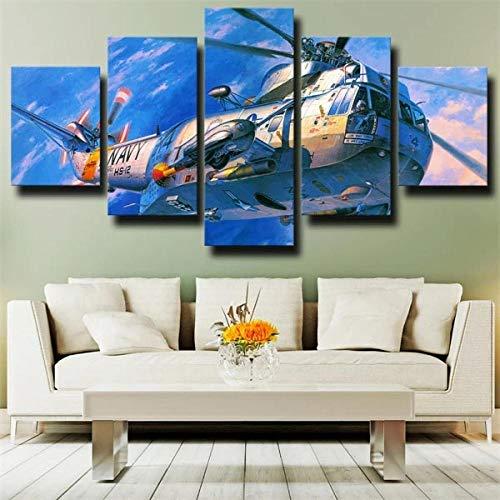 IJNHY Cuadro En Lienzo 150×80Cm 5 Piezas Cuadro sobre Lienzo Aviones Militares Sikorsky Azul No Tejido Impresión En Lienzo Decoracion Pared Regalo Creativo Cuadros para Dormitorios