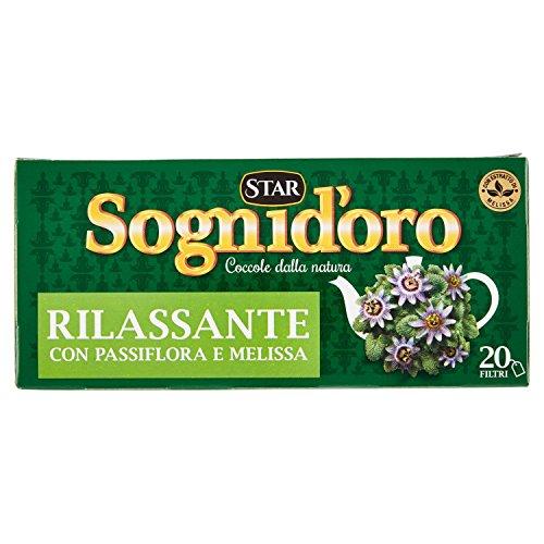 Sognid'oro - Tisana Rilassante, con Passiflora, Camomilla, Melissa e Biancospino, filtri da 2g - 20 Filtri