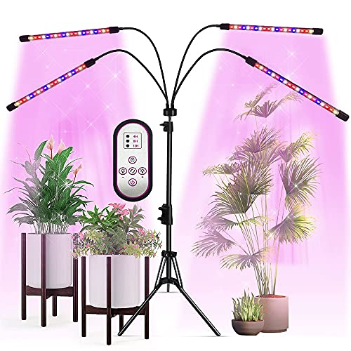 LED Grow Lights with Stand, Vicllia 4 Heads Full Spectrum Dimmable Floor Grow...