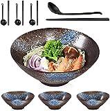 NOSACEN Ceramic Japanese Ramen Soup Bowl Set,4 Sets (12 Piece) 9 Inch 50 Ounce Ceramic Noodle...