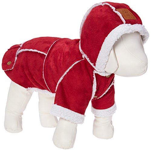 Kailian Dog Winter Jacket Puppy Hooded Coat, Dog Apparel,Dog Snowsuit, Faux Shearling Fabric Coat Cotton Clothes Red-L