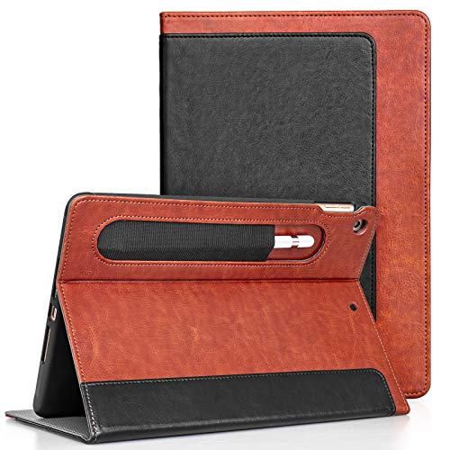 JETech Case for New iPad 8th/7th Generation(10.2-Inch, 2020/2019 Model) with Pencil Holder, Highly Protective, Smart Cover Auto Wake/Sleep, Black/Brown
