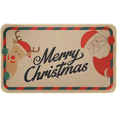 EasyAcc Christmas Decoration Outdoor Indoor Doormat for Entryway, 30 x 17 inches Entrance Welcome Door Mat Non Slip Washable Front Door Mats Santa Claus Rug - Red