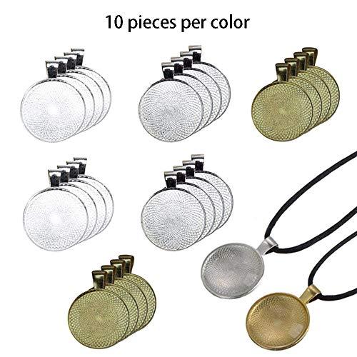 Nuluxi Bisel de Joyería de Colgantes DIY Bandejas Colgantes de Bisel Redondo Bandejas Colgantes Metal Bisel Perfecto para DIY Colgante Collares de Foto Pulsera Joyeria(3 colores,10 piezas por color)