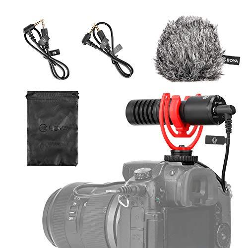 BOYA BY-MM1+ Micrófono supercardioide escopeta con soporte de choque, parabrisas Deadcat, funda compatible con smartphones iPhone/Andoid, cámaras DSLR y videocámaras para grabación de audio en vivo