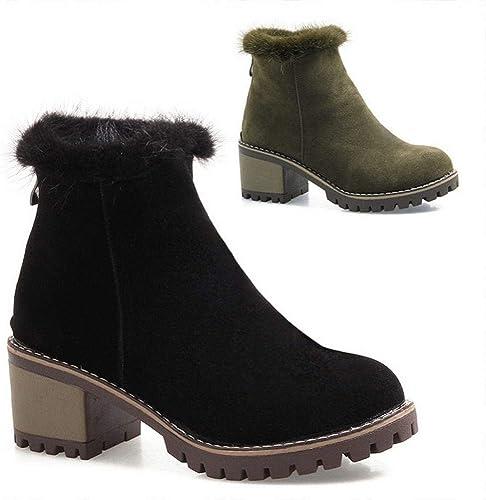 ZHRUI Stiefel para damen Stiefel de Nieve de Gasa Stiefel Calientes Antideslizantes Stiefel de algodón Cremallera Trasera 34-43 (Farbe   schwarz, tamaño   36)