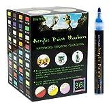 Rotuladores de pintura acrílica profesional de 36 colores, 3mm, dibujar en cualquier superficie lisa, para vidrio, piedras, cuero, tela, vasos, plástico, versátil,fácil de usar