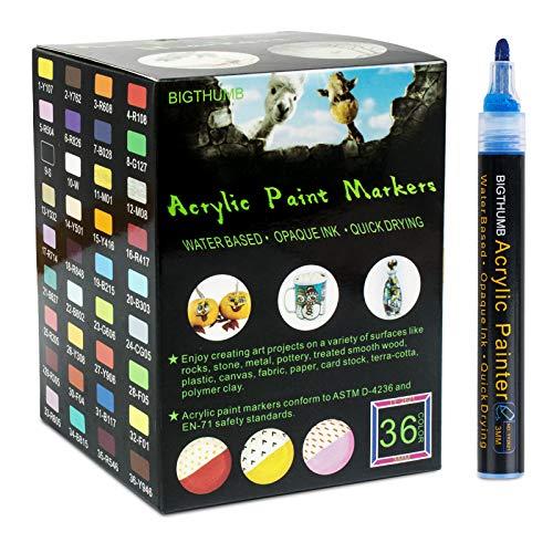 Rotuladores de pintura acrílica profesional de 36 colores, 3mm, dibujar en cualquier...