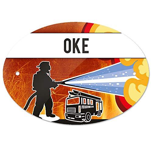 Eurofoto Türschild mit Namen Oke und Feuerwehr-Motiv   Kinderzimmer-Schild