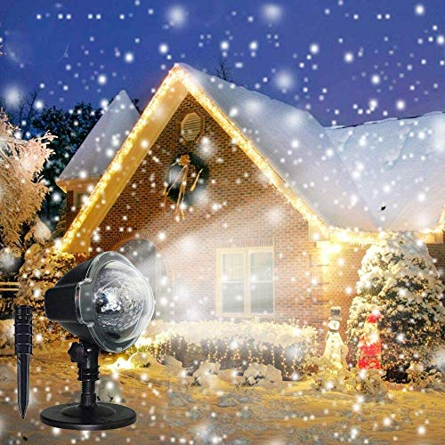 LED Projektionslampe,Snowfall LED Light Projector,IP65 Waterproof Upgrade Rotating LED Snowfall Projection Lamp,Disco Light in Snow Activated Effect