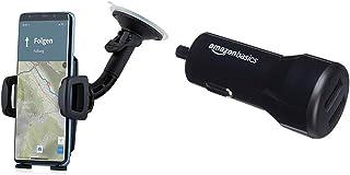 Wicked Chili Universal KFZ Halterung kompatibel & Amazon Basics   Kfz Ladegerät & Android Geräte, USB Anschluss: 2 Eingänge, 4,8Ampere / 24W, Schwarz