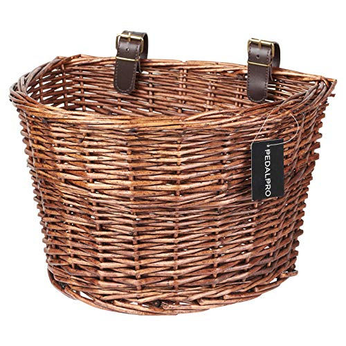PedalPro Vintage Wicker Bicycle Basket with Brown Handlebar...