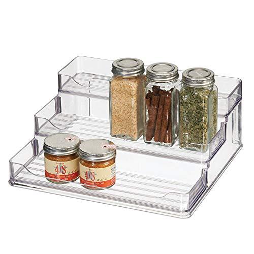 mDesign Organizador de Especias – Prácticos estantes especieros de plástico con 3 Niveles – Organizador de armarios para Guardar Las Especias y Otros Alimentos empaquetados – Transparente