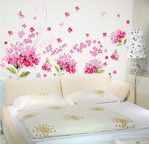 ufengke® Romantische Wandsticker mit Hortensien-Blumen, für Schlafzimmer, Wohnzimmer, abnehmbare Wandaufkleber, Wandsticker, Größe L