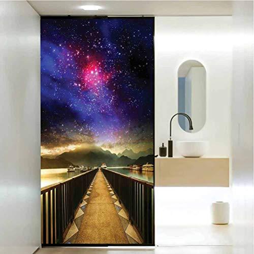 Pegatinas de vidrio esmerilado no adhesivas, decoración del universo Galaxy Cosmos Puente de madera panorámico V, película de tinte para ventana de hogar, control de calor, W17.7 x H35.4 pulgadas