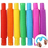 SCIONE Mini Pop Fidget Tubes 7 Pack Fun Pop and Tubes Toys for kids&Adults- Sensory Tubes for Kids decompression, Pop Fidget for Stress and Anxiety Relief,Cool Bendable Toys Sensory Tubes for Toddlers