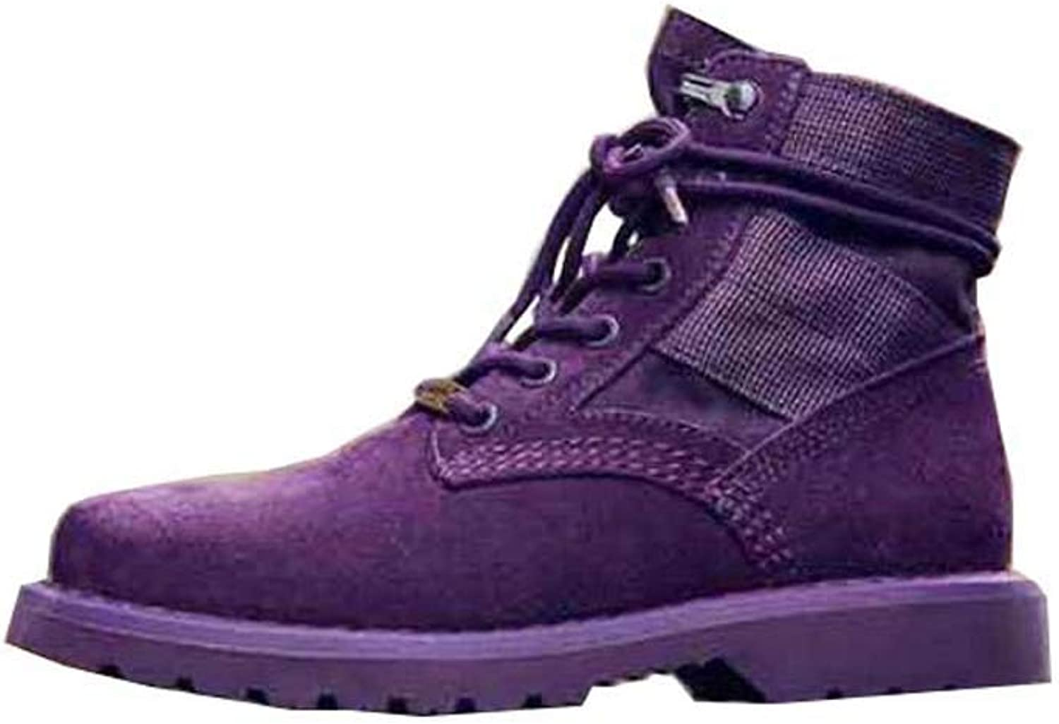Couple Martin Boot Purple Matte Ankle Bootie Casual British Style Lace Up Tooling Boots EU Size 34-44