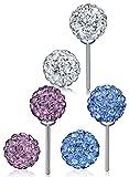 Infinite U 3pares plata de ley 9258mm Color blanco morado azul Shamballa bolas de cristal Ear Studs Pendientes para las mujeres/niñas