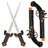 PROLOSO Plastic Pirate Sword Pistol Toy Fake Buccaneer Prop for Cosplay Dress Up Costume Accessories Imaginative Play for Kids Adults (2 Swords & 2 Guns)