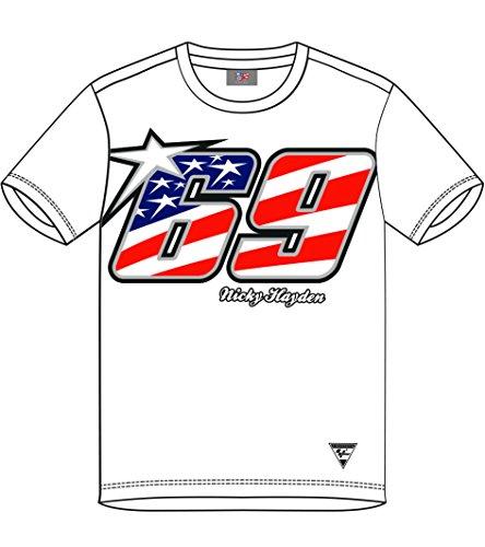 Pritelli Herren T-Shirt Nicky Hayden #69, Weiß, Größe M