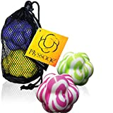 Massage Balls by Myssage - DIY Deep Tissue Therapy - Unique Knobby Design for Myofascial Release - Set of 2 for Active Trigger Point Body Maintenance with Travel Tote - Will Not Roll Away!