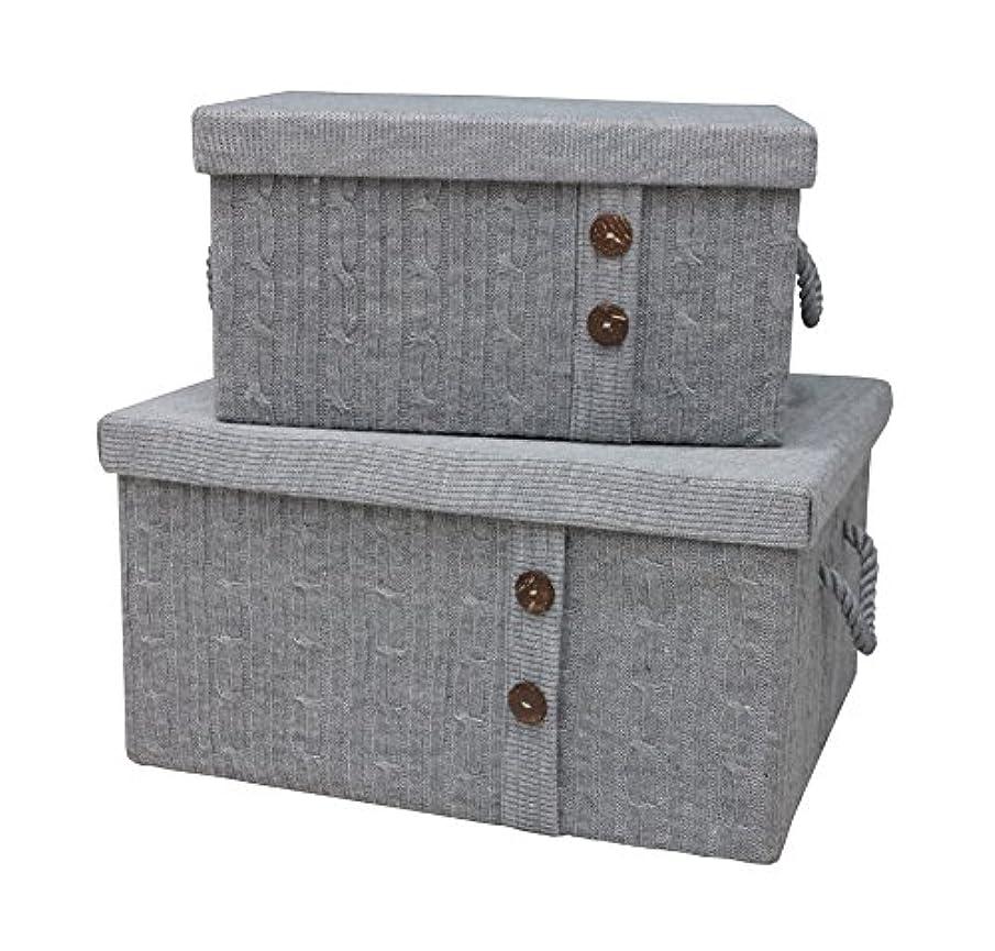B&P Italia S/2 Set of 2 Storage Boxes, Cardboard, Grey, One Size