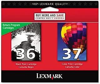 Lexmark 18C2229 36 37 X3650 X4650 X5650 X6650 X6675 Z2420 Ink Cartridge Set (Black & Color, 2-Pack) in Retail Packaging