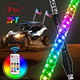 Nilight 2PCS 3FT Spiral RGB Led Whip Light with Spring Base Chasing Light RF Remote Control Lighted Antenna Whips for Can-Am ATV UTV RZR Polaris Dune Buggy Offroad Truck