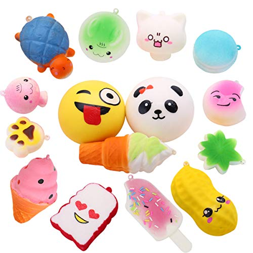 AceLife Squishies Toys Pack , 15 Pcs Slow Rising Squishy Toys Soft Toy Squeeze Stress Relief Squishys for Boys/ Girls Including Medium Mini Kawaii Toys