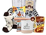 Perfect COFFEE LOVERS GIFT SET for women / men Coffee variety basket, Birthday GIFT BASKET BOX with coffee Socks, Mug, cookies, K-cups, instant coffee, Greeting card for husband, wife, mom, dad