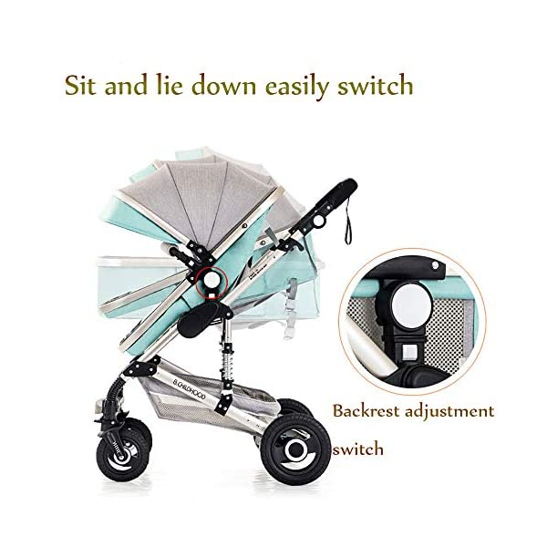 JINGQI Multifunctional Baby Stroller Two-Way Implementation of High-View, Sitting And Lying Shock-Absorbing Folding Children's Stroller, Applicable Age: 0~36 Months,Green JINGQI ✔ The push handle can be adjusted in multiple levels, high-quality linen fabric, stylish atmosphere, water absorption and dirt resistance, and UV protection; bold and thick aluminum alloy frame, waterproof and rustproof; three-sided mesh ventilation, breathable, refreshing ✔ Triple shock absorber: front wheel built-in spring shock absorber, wear-resistant EVA rear wheel, independent frame shock absorber, good shock absorption effect, good grip, strong shock absorber at the root of the frame, durable And good flexibility ✔Exquisite design, better safety performance: one-button release of the seat belt, the armrest can be opened, the rear storage bag, the enlarged storage basket, the non-slip thickened pedal 7
