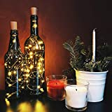 10 Pack LED Flaschenlicht Deko - 2M 20 LED Lichterkette Batterie, Led Korken mit LED Lichterkette für Flasche, Tischdeko Geburtstag, Weihnachten, Hochzeit, Valentinstag, Dekoration Wohnung - 6