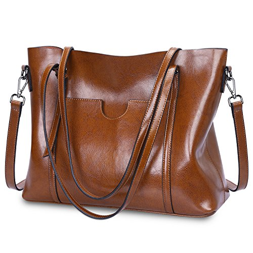 S-Zone Women's Vintage 3-Way Genuine Leather Tote Shoulder Bag Handbag Fashion Handbag Messenger Bag (Dark Brown)(Size: L)
