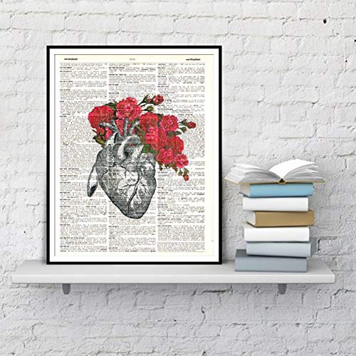 LSWMW Wall Painting Canvas Decoration Anatomical Heart Flowers Flower Print Dictionary Art Posters Prints Watercolor Home Decoration Canvas Painting Wall Painting gift-60x80cm