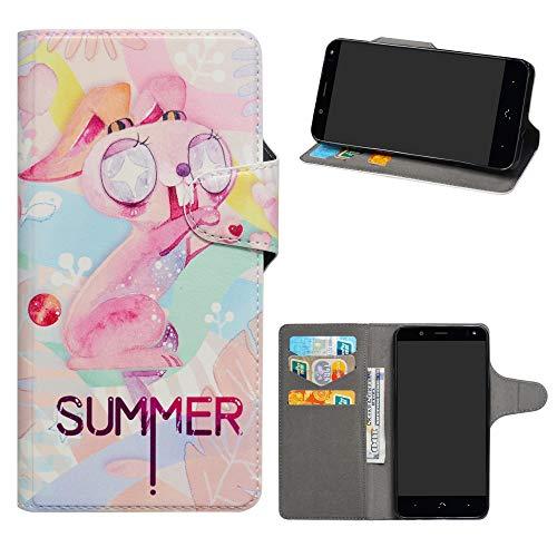 HHDY BQ Aquaris U2 Funda, Diseño PU Cuero Libro Soporte Plegable y Ranuras para Tarjetas Dibujos Caso Cover para BQ Aquaris U2 / U2 Lite,Pink Rabbit