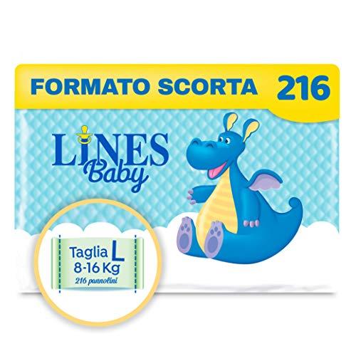 Lines Baby Large, 216 Pannolini, Taglia 4 (8-16 Kg),Confezione Scorta Mensile