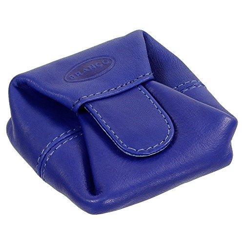 Ledershop24 Branco Geldsäckchen Mini Geldbörse Münzbörse Minibörse Schütter Kleingeldbörse Geldbeutel Leder 6,5cm Farbe Royalblau