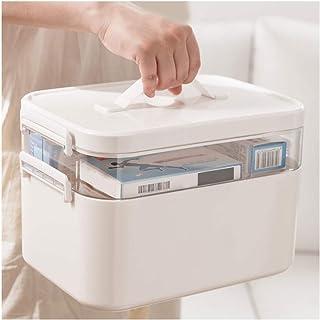 Family First Aid Box صندوق الطب،صندوق الطب متعدد الطبقات،صندوق تخزين سعة كبيرة،صينية قابلة للفصل(شفافة)،حجم كبير،أبيض Medi...
