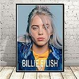 CGDZ Personnalisé Billie Eilish Musique Chanteur Pop Star Affiche Et Gravures Mur Art Peinture Toile Mur Photos pour Le Salon Décor À La Maison 40X60 Cm sans Cadre